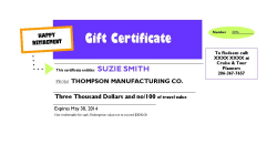 Gift Certificate - Cruise and Tour Planners